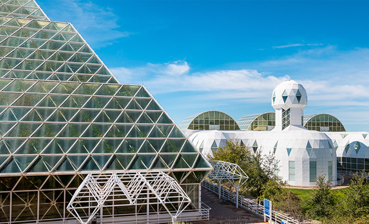 Exterior of Biosphere 2 during the day