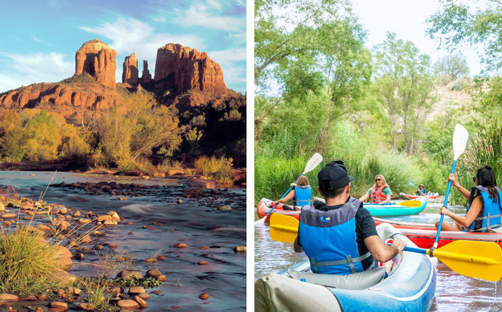 Two images: One shows a creek with giant red rock formations in the back; the other features several people in kayaks rowing