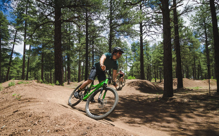 A man rides a bike on a dirt trail through a forest of pine trees in the daytime.