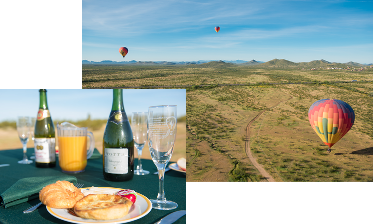 A montage of images--hot air balloons soar over the desert and a champagne breakfast