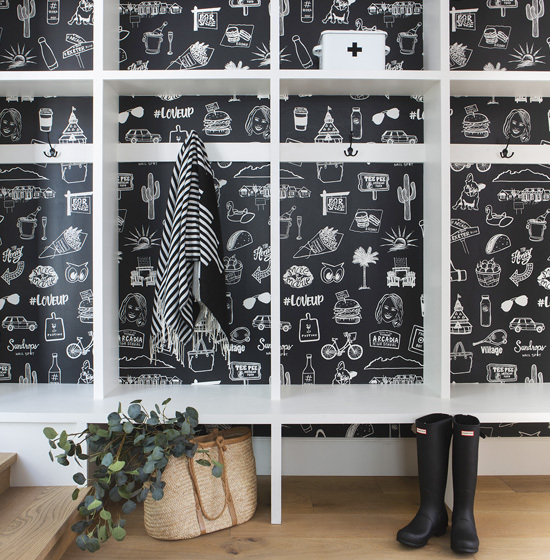 Black and white wallpaper decorated with hand-drawn illustrations of a Phoenix neighborhood
