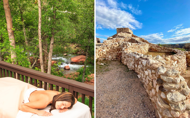 Two images: A woman relaxes on a massage table outside, near a creek; stones of ancient ruins