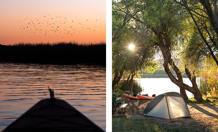 Two images. A kayaker at sunset and a single tent sits near a quiet lake at daytime
