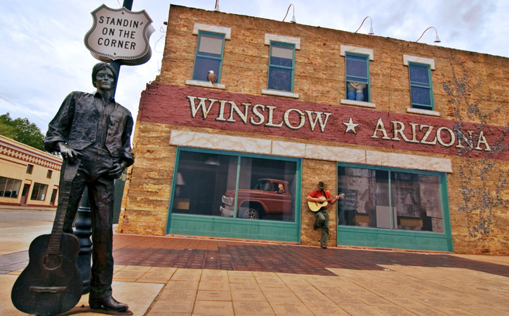 A statue of singer Glenn Frey stands on the corner in Winslow, Arizona