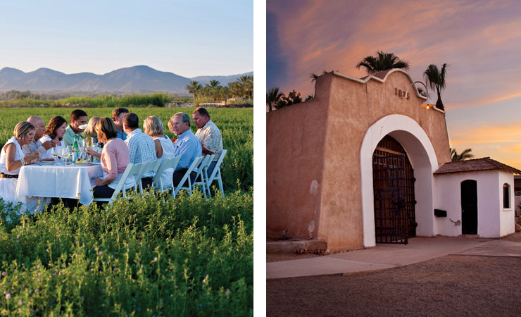 Two images - one shows a group of people eating a meal in a field. The other is a mission-style building exterior at sunset
