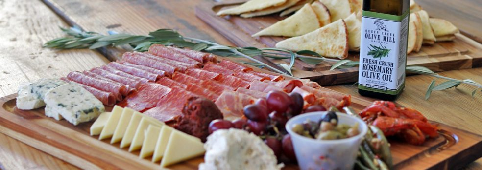 A charcuterie and cheese board available at Queen Creek Olive Mill