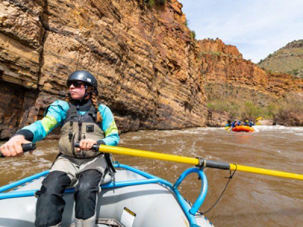 River guide Lauren McCullough steers her raft through the Salt River