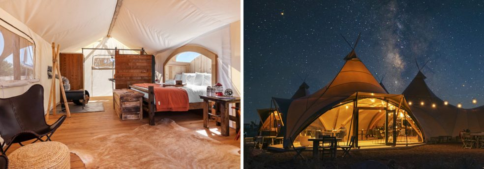 The interior of an Under Canvas glamping tent and a view of the dining tent at night under the stars