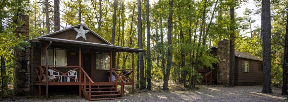 Two cabins sit amidst pine trees at Whispering Pine Resort