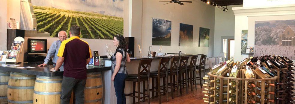 Customers wait in line to buy and sample wine at Keeling Schaefer Vineyards