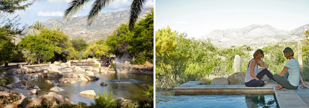 The grounds of Miraval Resort and Spa, and two friends laugh next to a pool with the mountains in the background