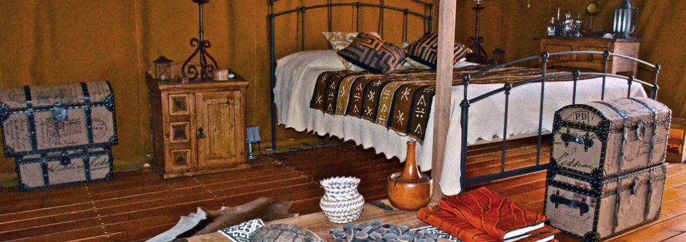 An interior view of a Ravens Way African-safari styled tent