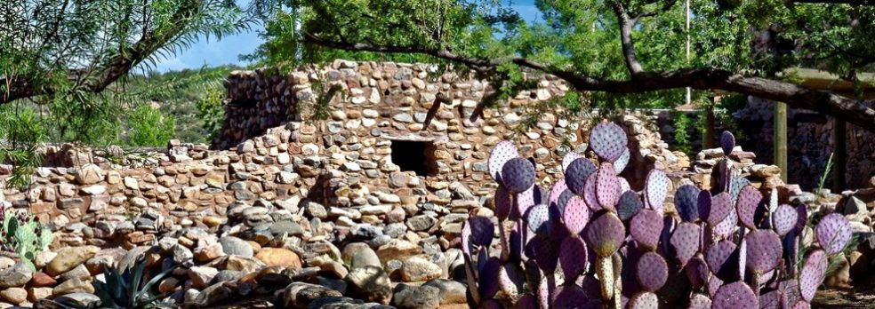 The cactus-surrounded ruins at Besh-Ba-Gowah Archaelogical Park in Globe, Arizona