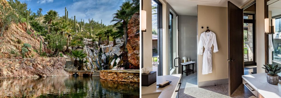 The natural hot springs and view of a suite bathroom highlight the luxe comfort of Castle Hot Springs.