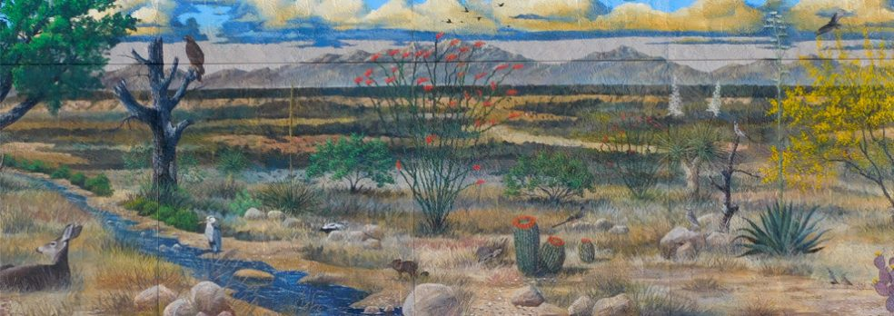 A mural in Benson depicting natural wildlife and plants