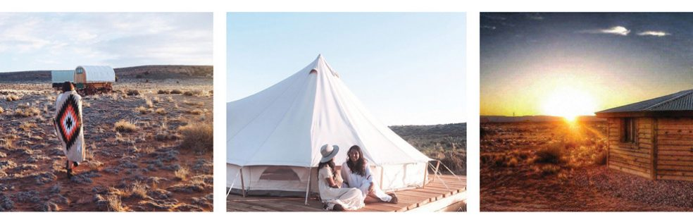 Three styles of accommodation -- a covered wagon, tent and cabin -- at Shash Dine Eco-Retreat