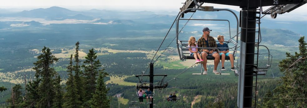 Families take in the view on Snowbowl