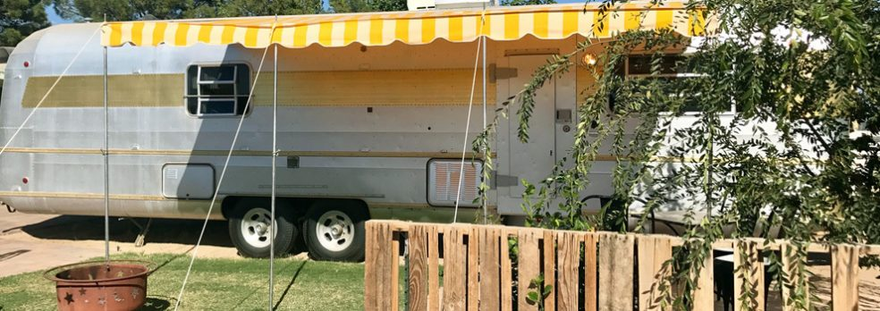 One of eight vintage trailers at The Cozy Peach in Queen Creek, Arizona