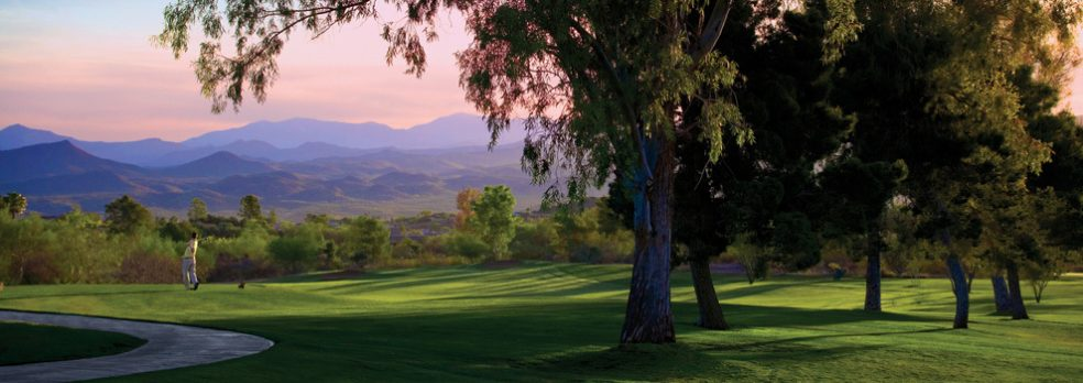 A golfer on the green at Rancho De Los Caballeros in Wickenburg, Arizona