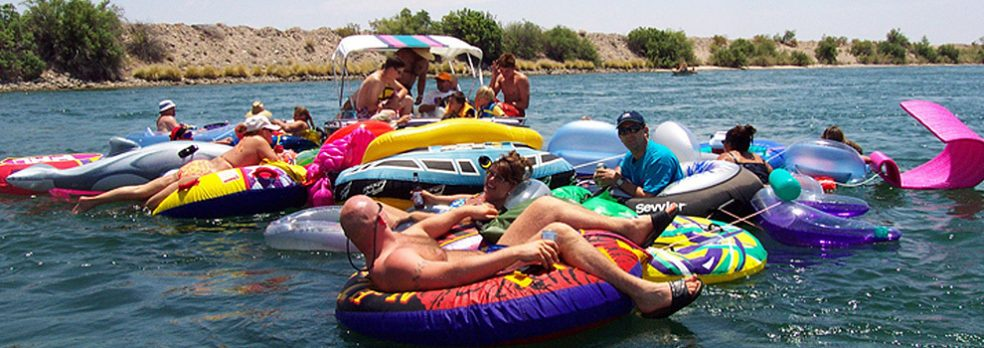 People hanging out on the Colorado River