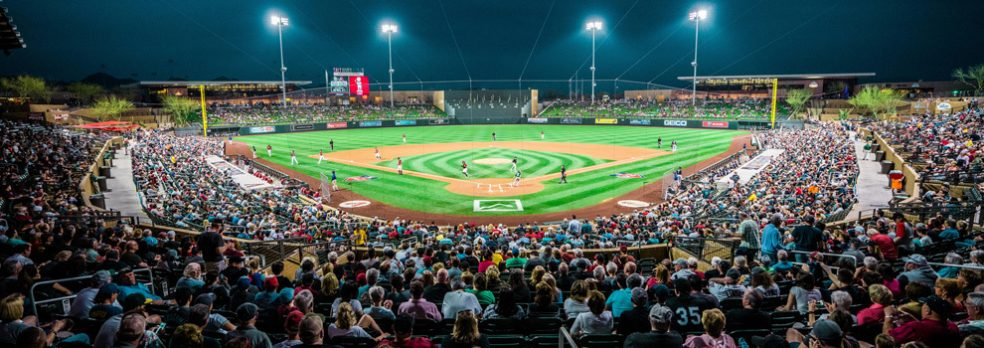 A night game packs the house at Salt River Field in Arizona
