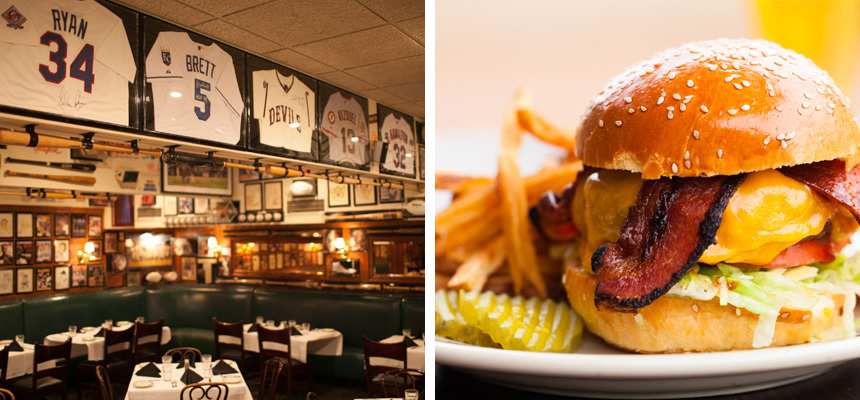 Two images - one is a burger and fries, and the other is an interior of Don and Charlies with all their sports memorabilia