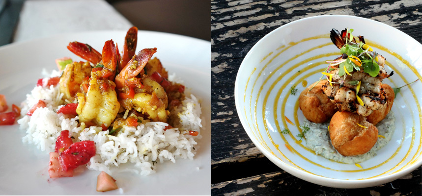 Two Breadfruit dishes side-by-side: the curried prawn (left) and jerk prawns (right)