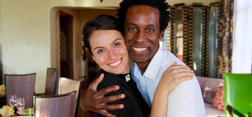 Danielle Leoni and Dwayne Allen embracing