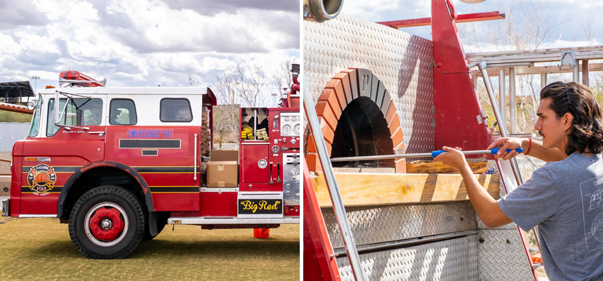 Left: Dang Bro Pizza food truck and Right: An employee checks on a pizza in the oven, located in the back of the truck
