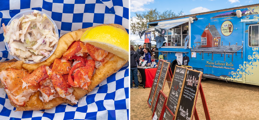 Left: A lobster roll with lemon and coleslaw, on the right: Maine Lobster Lady's food truck