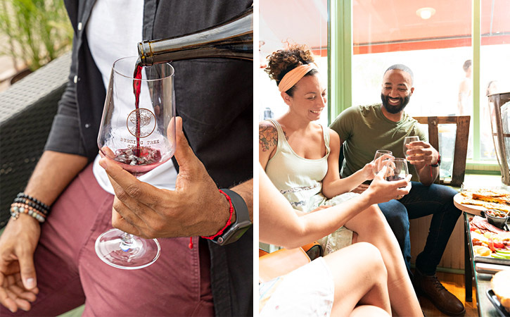 Two images: One is a man with a wine glass being filled with red wine; the other is a couple in a bright space drinking wine