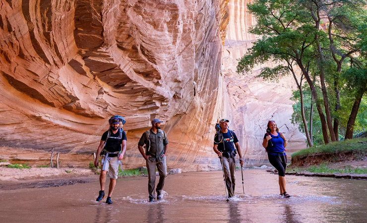 Campers hiking in Canyon de Chelly with Navajo Guide, Chinle
