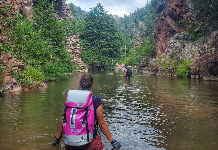 A man and woman (wearing a bright pink backpack) wade through a small river among trees and rocky mountainsides.