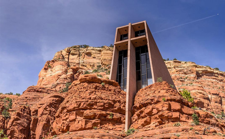 A giant chapel constructed within the stone of the Red Rock mountains