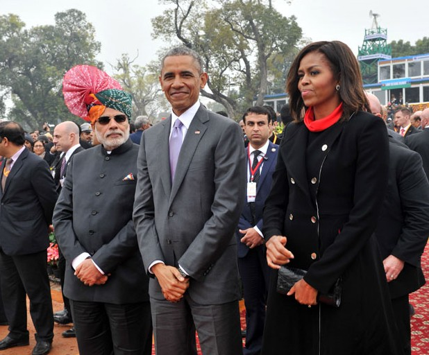 The Prime Minister, Shri Narendra Modi with the US President, Mr. Barack Obama and the First Lady Michelle Obama 26 jan 2015