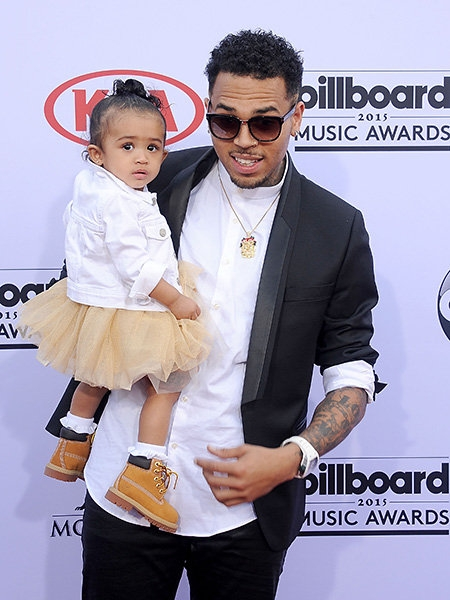 Las Vegas: Singer Chris Brown with her daughter Royalty Brown at the Billboard Music Awards 2015 in the MGM Grand Garden Arena, Las Vegas on May 17, 2015.