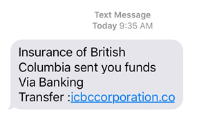Scam text claiming