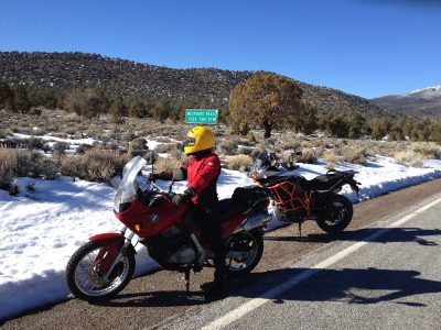 Two Motorcycles at Westgard Pass in Bishop, CA