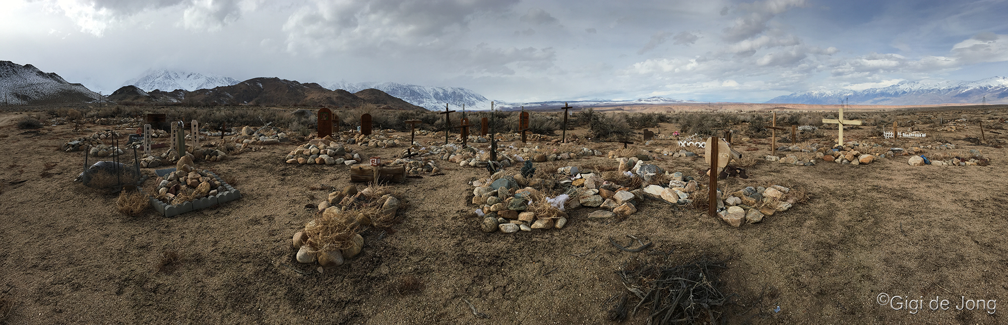 Grave markers in a pet cemetery with storm clouds on snowy mountains in background