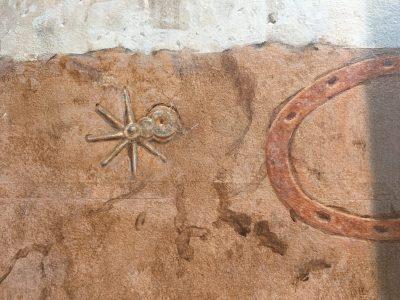 close-up image of decorative sidewalk detail