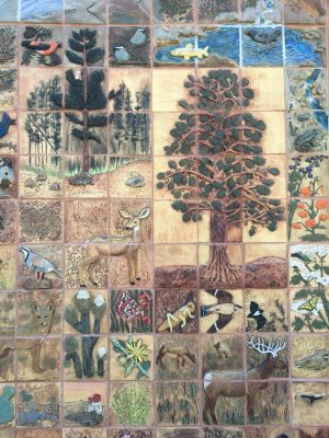 image of some of the ceramic tiles in the Bishop library mural