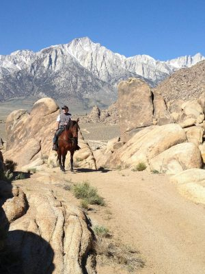 image of a rider on a horse in the Alabama Hills