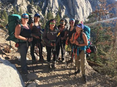 women hikers laughing