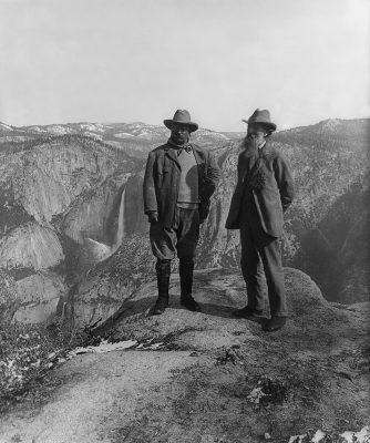 U.S. President Theodore Roosevelt (left) and nature preservationist John Muir. Yosemite National Park.