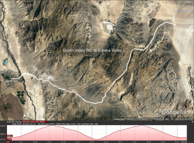 Death Valley Rd to Eureka Valley map