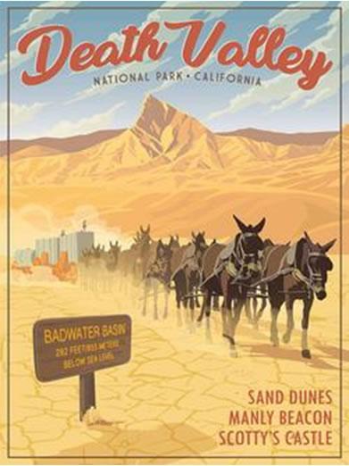 Death Valley Retro Poster