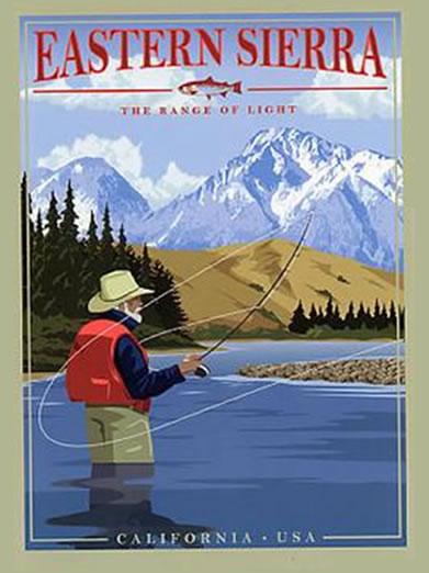Eastern Sierra Retro Poster of Man Fly Fishing