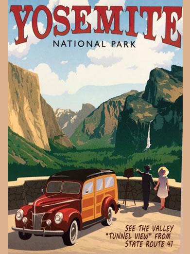 Yosemite National Park Retro Poster of El Cap and Half Dome
