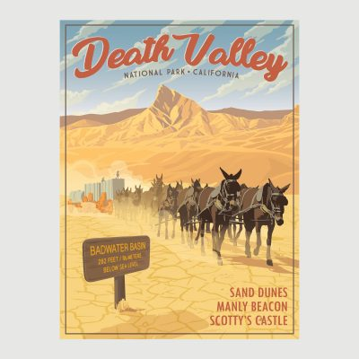Death Valley Retro Poster