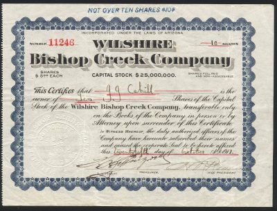 Bishop Creek Mine 1911 Stock Certificate Issued by Gaylord Wilshire.